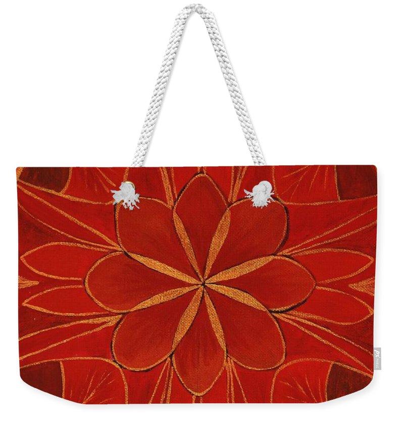 Mandala Weekender Tote Bag featuring the painting 1st Mandala - Root Chakra by Jennifer Christenson