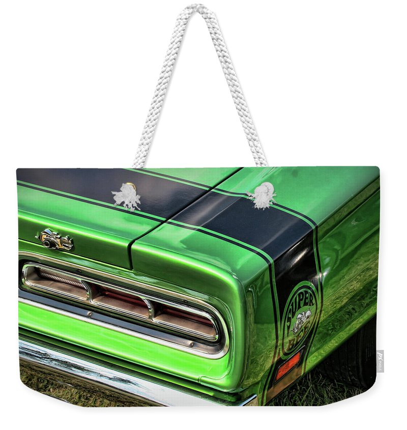 1969 Weekender Tote Bag featuring the photograph 1969 Dodge Coronet Super Bee by Gordon Dean II