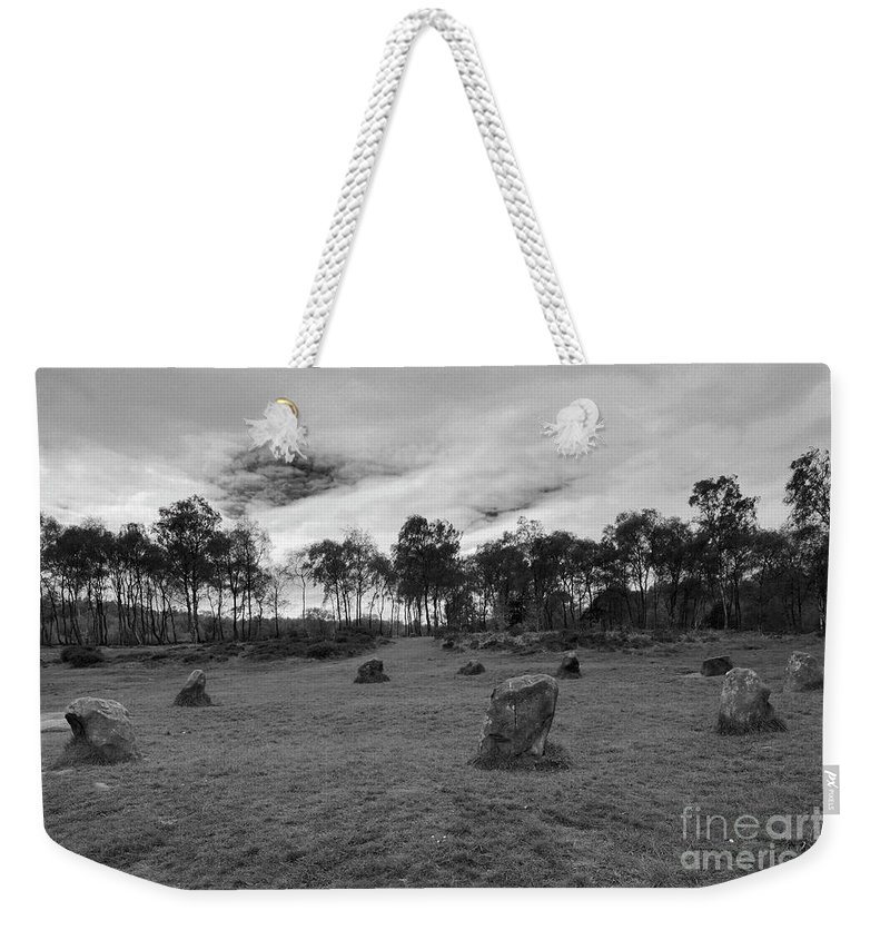 9 Ladies Stone Circle Weekender Tote Bag featuring the photograph 9 Ladies Stone Circle, Stanton Moor, Peak District National Park by Dave Porter