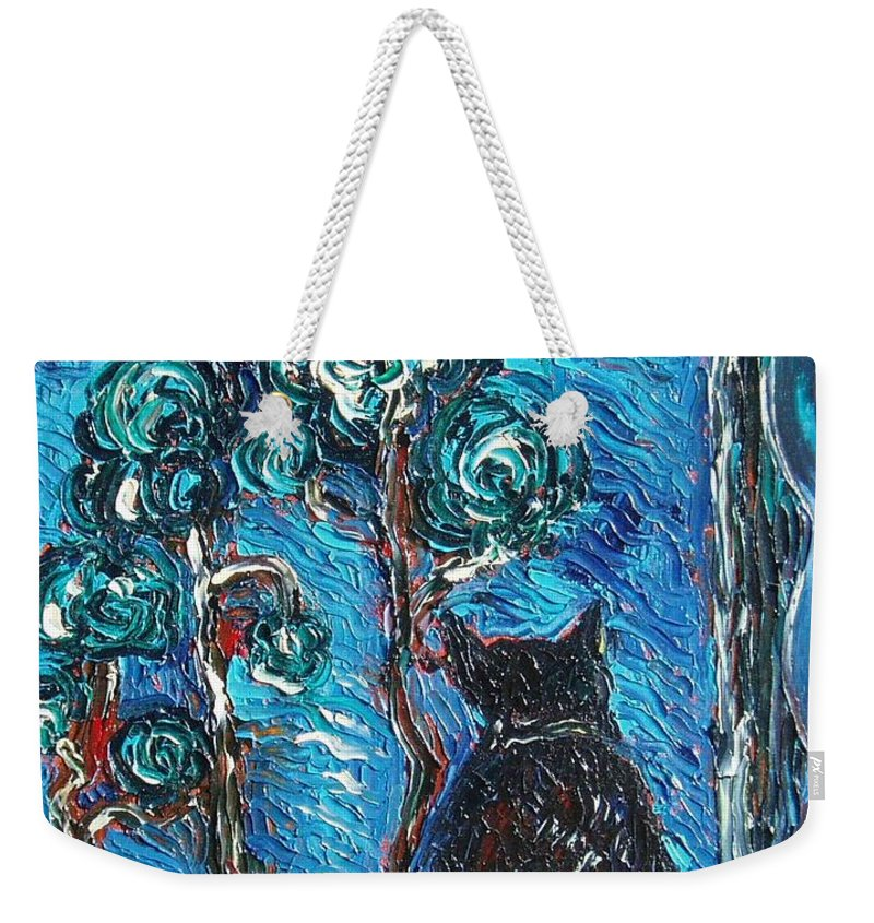 Cat Paintings Weekender Tote Bag featuring the painting A Black Cat by Seon-Jeong Kim
