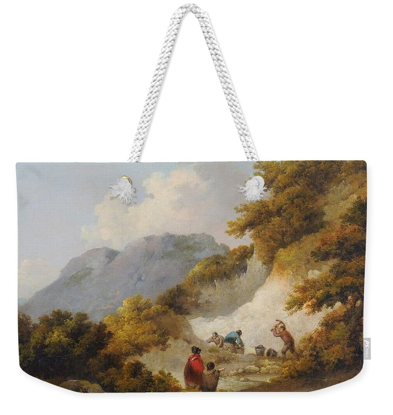 George Morland (1763-1804) A Mother And Child Watching Workman In A Quarry Weekender Tote Bag featuring the painting A Mother And Child Watching Workman In A Quarry, by George Morland