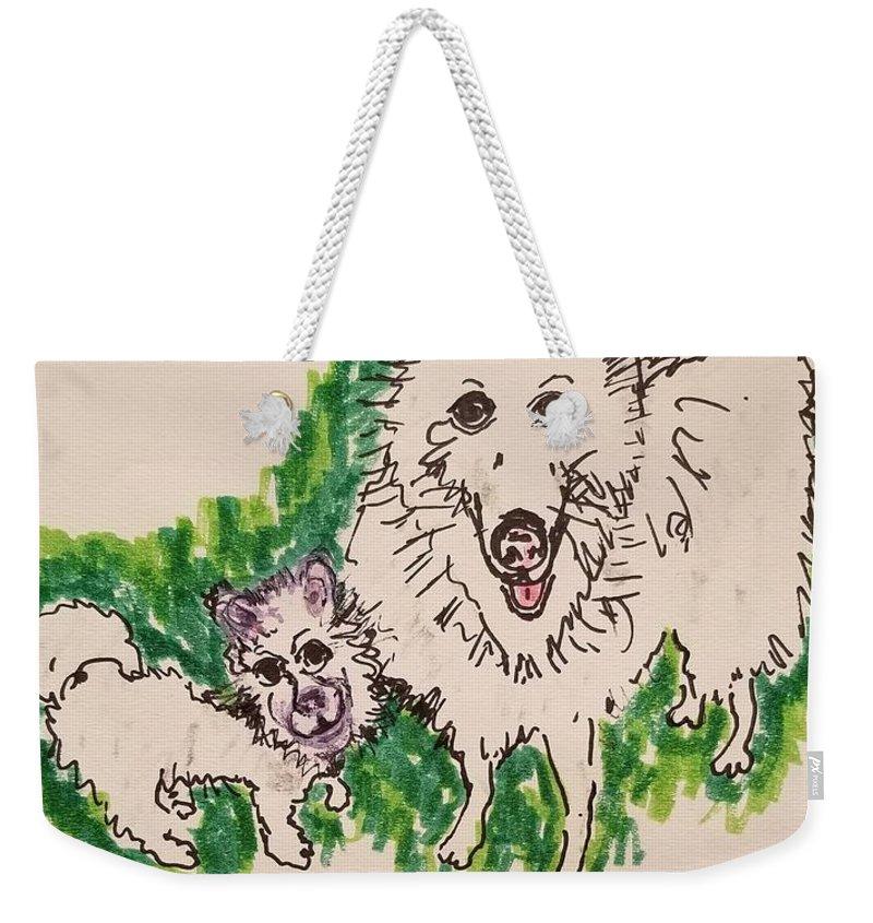 American Eskimo Dog Weekender Tote Bag featuring the drawing American Eskimo Dog by Geraldine Myszenski