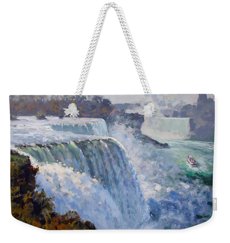 American Falls Weekender Tote Bag featuring the painting American Falls by Ylli Haruni