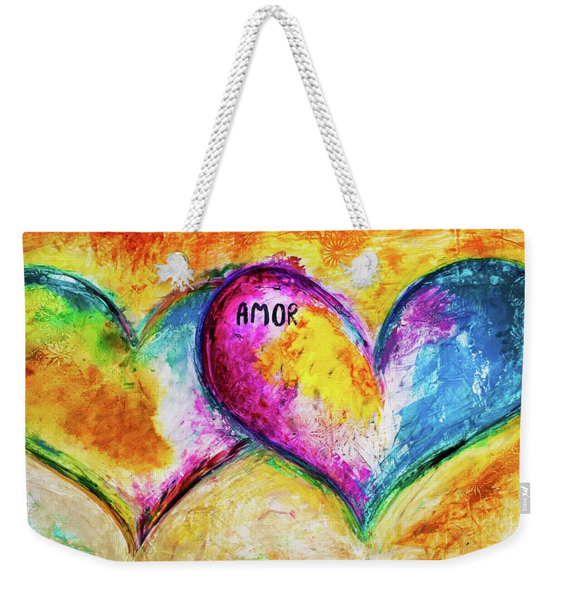 Heart Weekender Tote Bag featuring the painting Amor Amor by Ivan Guaderrama
