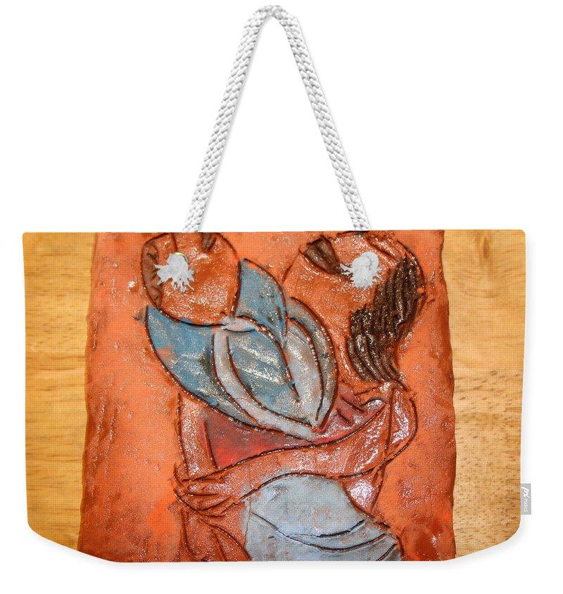 Jesus Weekender Tote Bag featuring the ceramic art Amuweese - Tile by Gloria Ssali