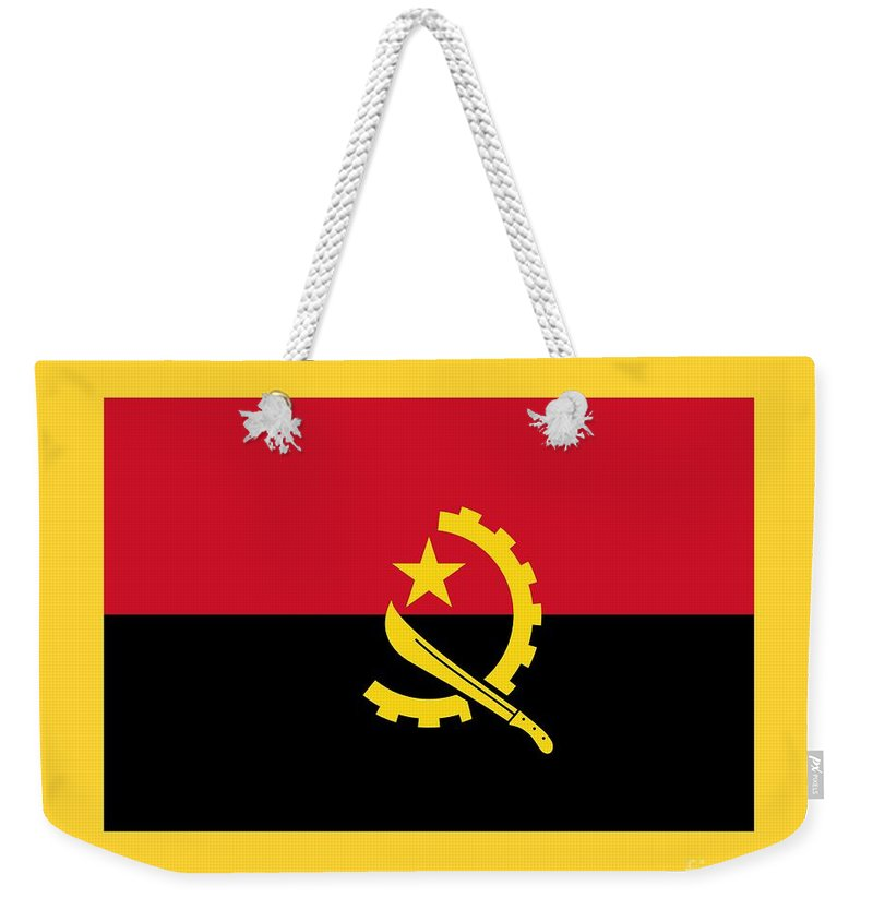 Flag Weekender Tote Bag featuring the digital art Angola Flag by Frederick Holiday