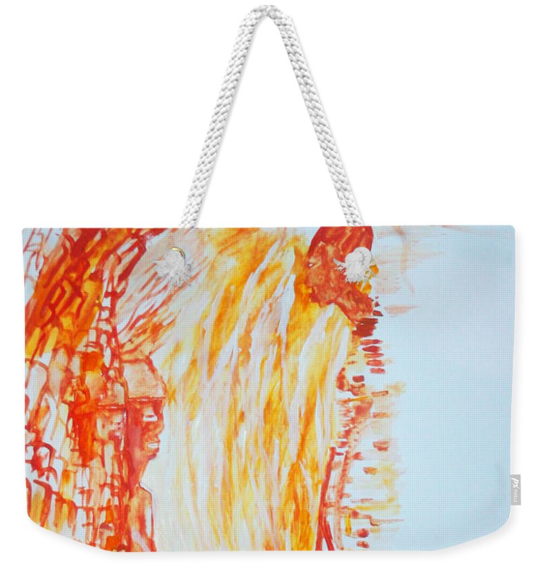 Jesus Weekender Tote Bag featuring the painting Annunciation by Gloria Ssali
