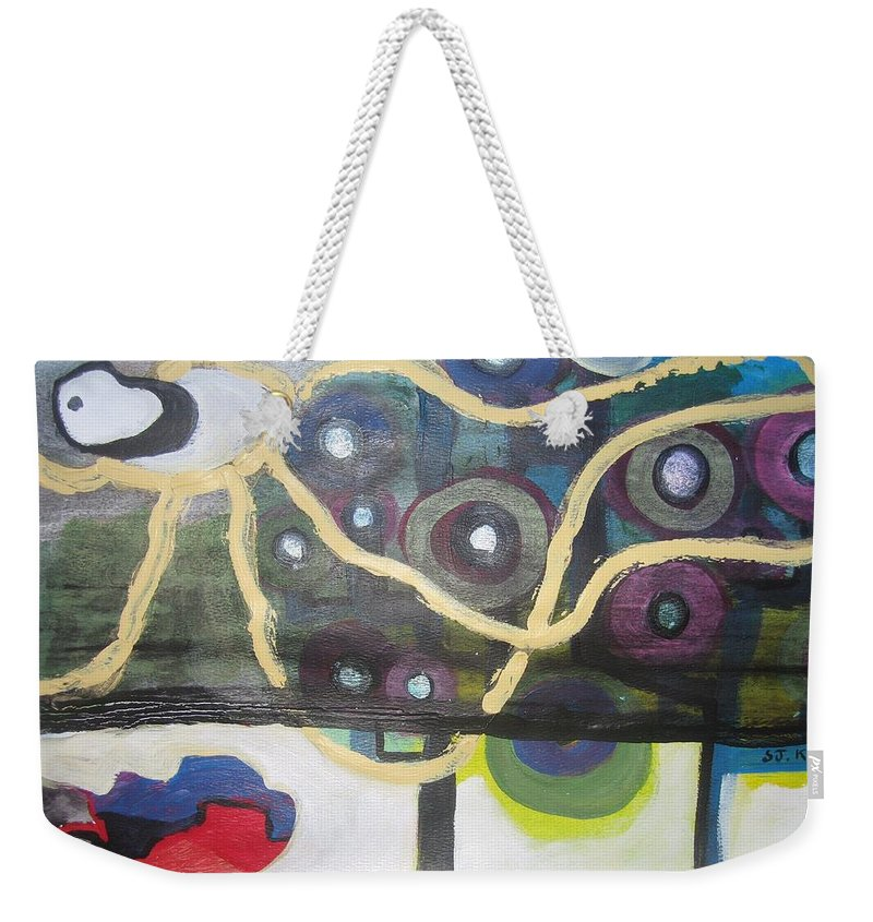 Abstract Contemporary Apple Tree Sun Plant Outdoor Blue Weekender Tote Bag featuring the painting Apple Trees by Seon-Jeong Kim