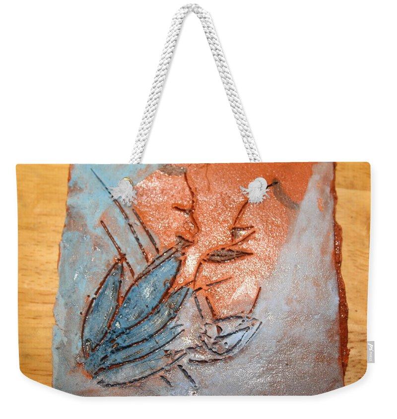 Jesus Weekender Tote Bag featuring the ceramic art Aweese - Tile by Gloria Ssali