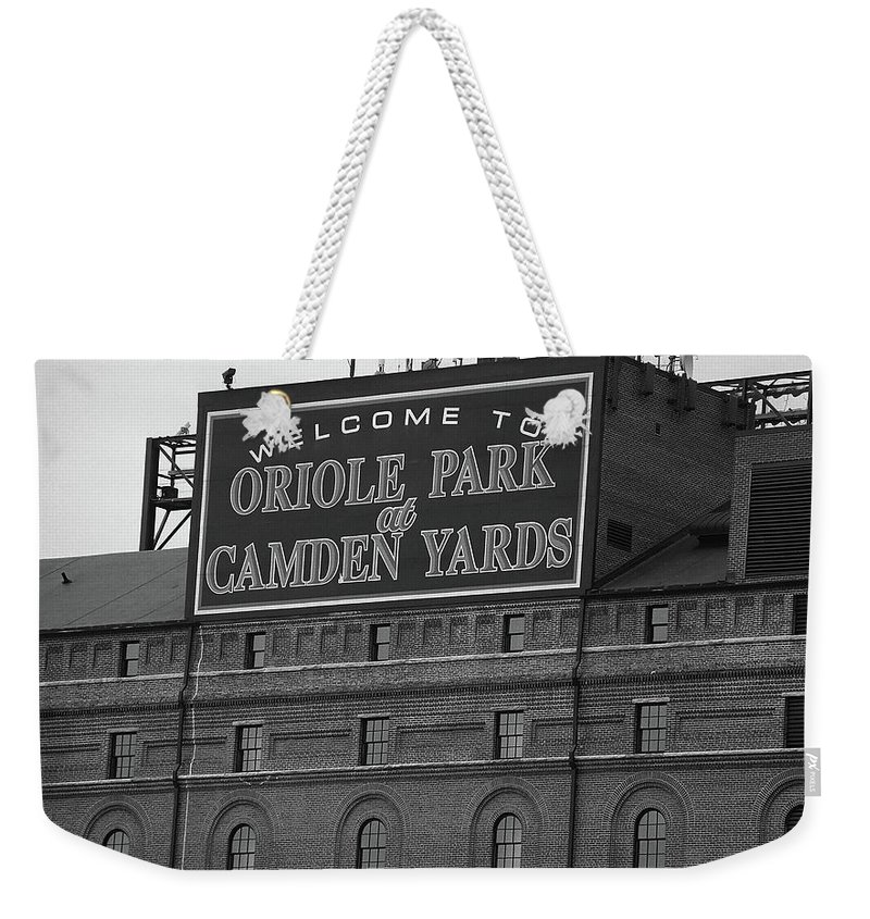 America Weekender Tote Bag featuring the photograph Baltimore Orioles Park At Camden Yards Bw by Frank Romeo
