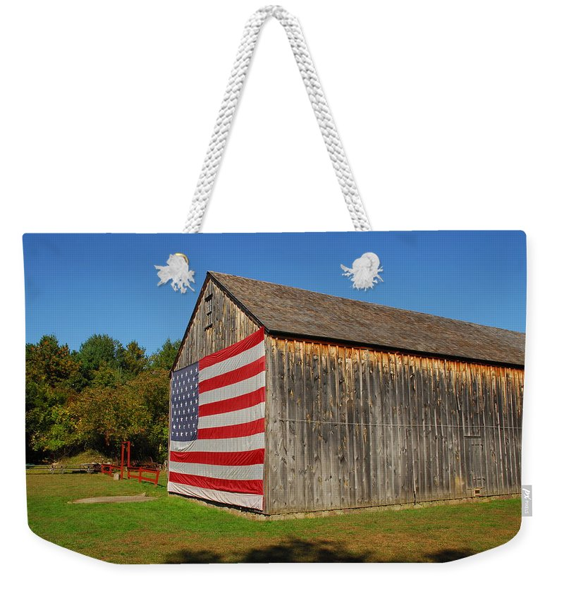 Barn Flag Weekender Tote Bag featuring the photograph Barns by Terry McCarrick