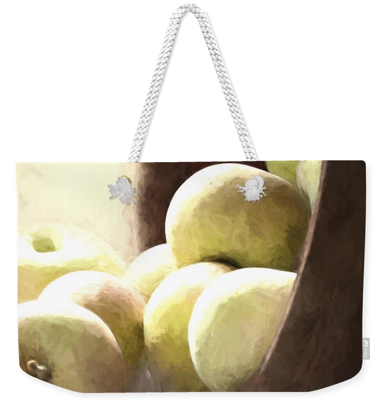 Apples Weekender Tote Bag featuring the photograph Basket Of Apples by Pam Holdsworth