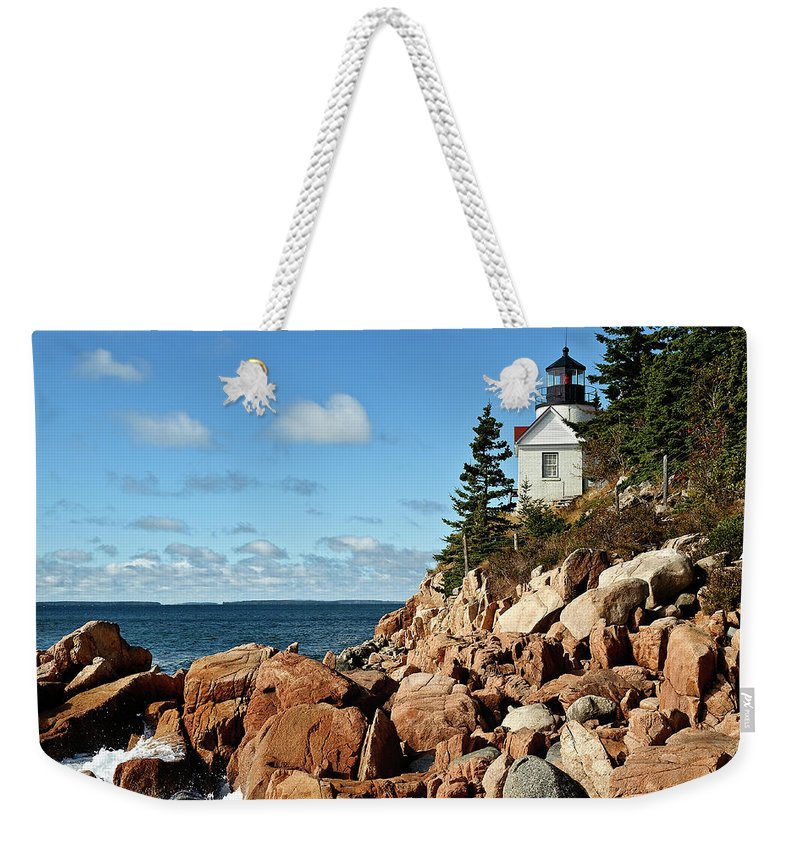 Acadia National Park Weekender Tote Bag featuring the photograph Bass Harbor Lighthouse by John Greim