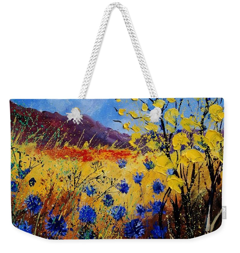 Poppies Flowers Floral Weekender Tote Bag featuring the painting Blue Cornflowers by Pol Ledent