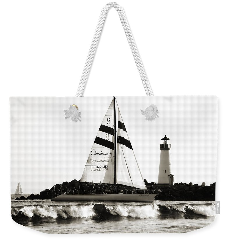 Santa Cruz Weekender Tote Bag featuring the photograph 2 Boats Approach 2 by Marilyn Hunt