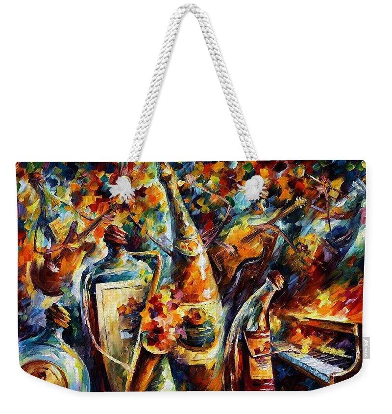 Afremov Weekender Tote Bag featuring the painting Bottle Jazz by Leonid Afremov