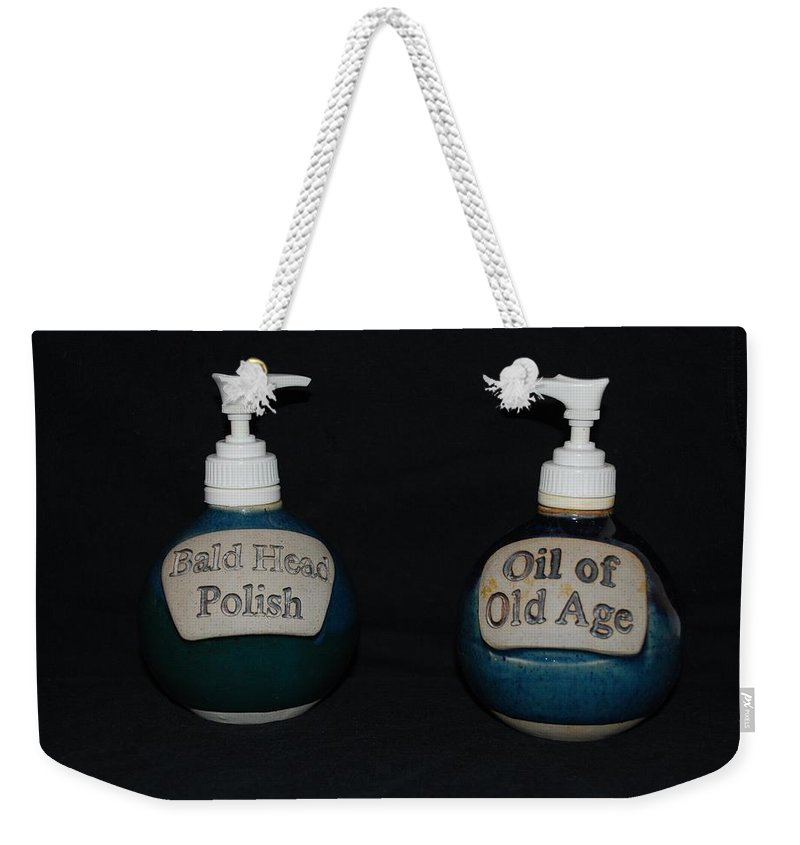 Bathroom Weekender Tote Bag featuring the photograph 2 Bottles by Rob Hans
