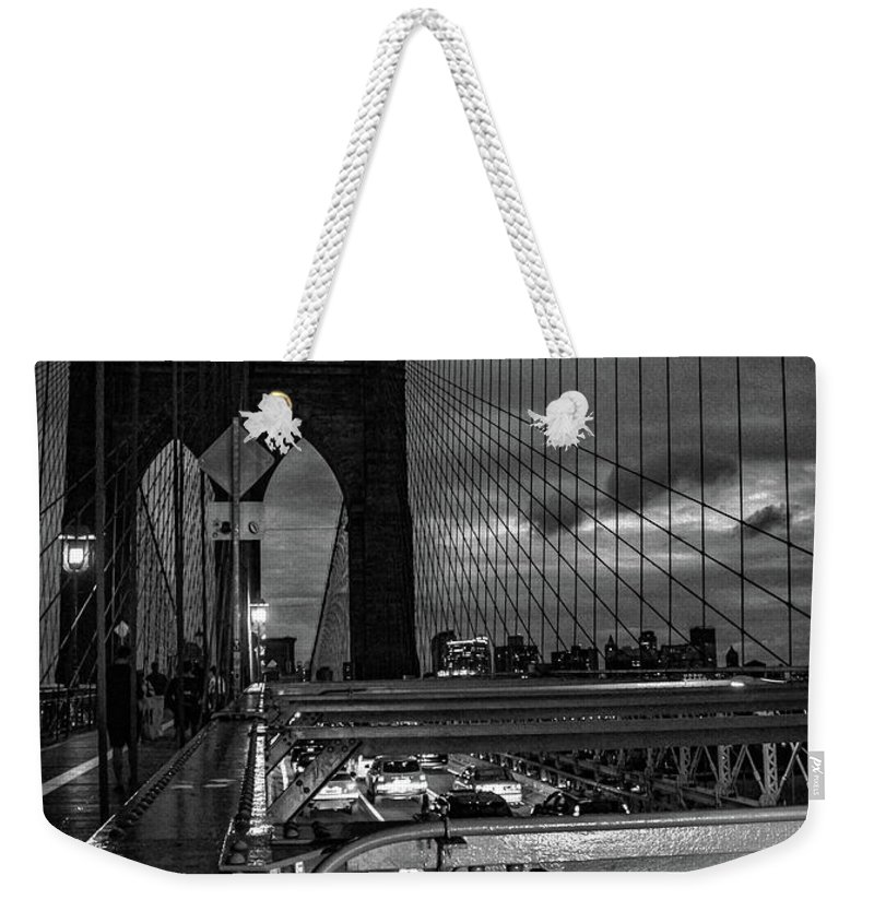 Nyc Weekender Tote Bag featuring the photograph Brooklyn Bridge by Martin Newman