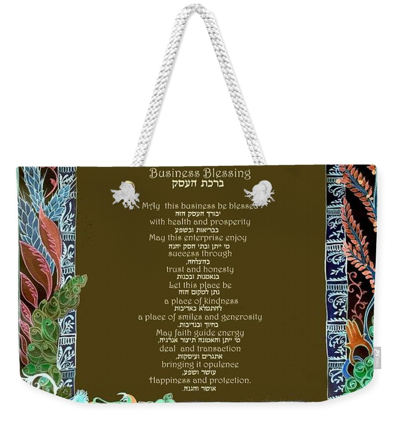 Business Weekender Tote Bag featuring the painting Business Blessing by Sandrine Kespi