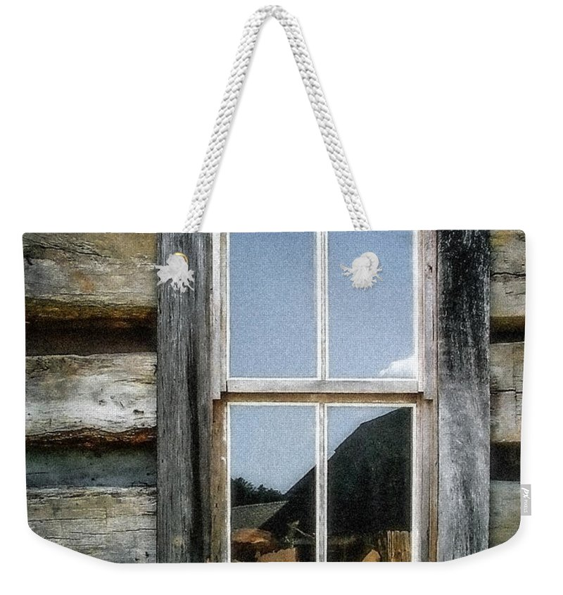 Log Cabin Weekender Tote Bag featuring the photograph Cabin Window by Todd A Blanchard