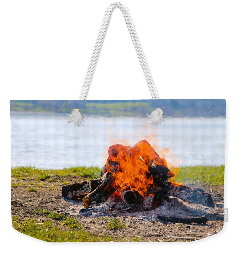 Fire Weekender Tote Bag featuring the photograph Camp Fire by FL collection