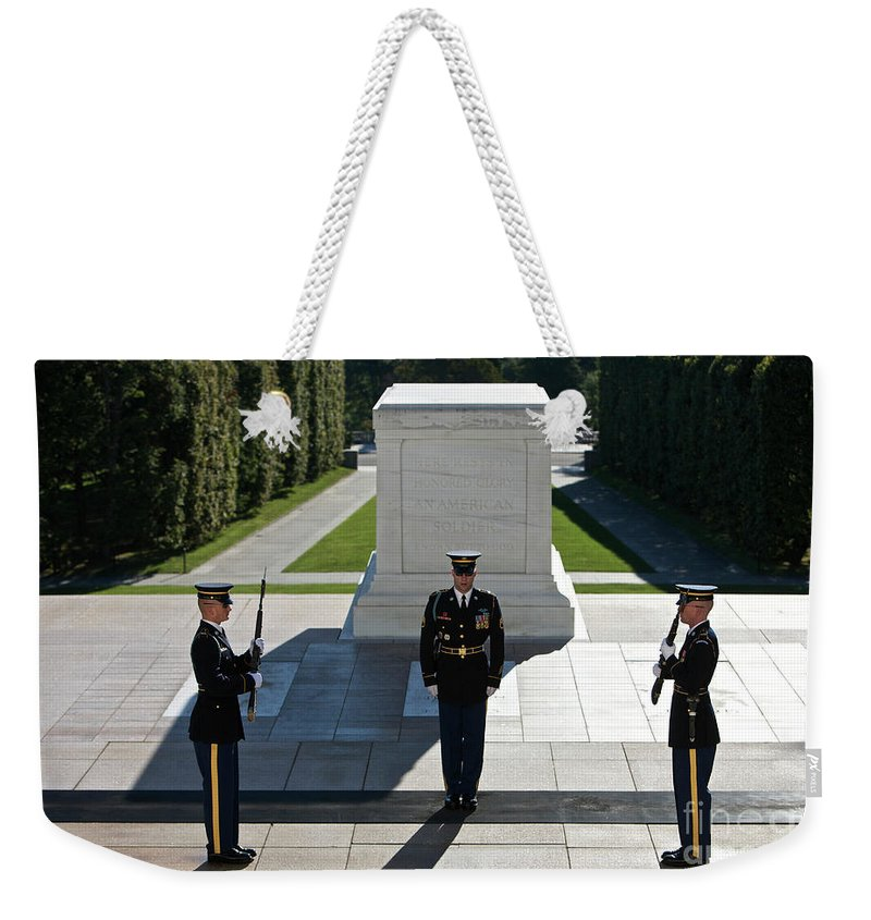 Horizontal Weekender Tote Bag featuring the photograph Changing Of Guard At Arlington National by Terry Moore