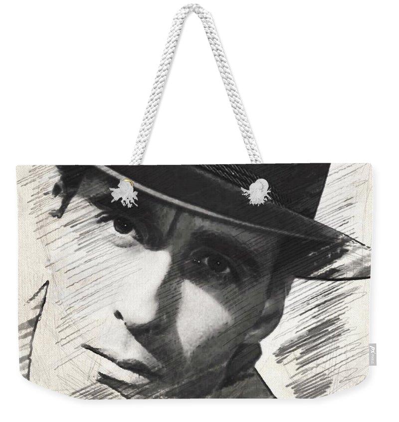 Christopher Weekender Tote Bag featuring the digital art Christopher Lee, Vintage Actor by John Springfield