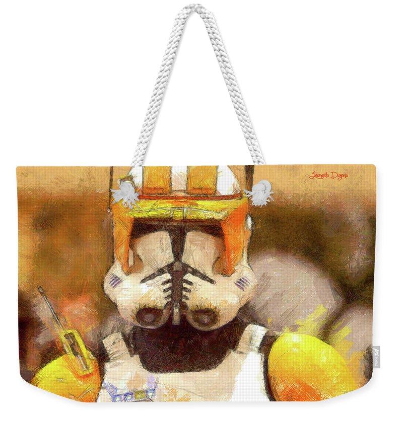 Clone Trooper Commander Weekender Tote Bag featuring the painting Clone Trooper Commander by Leonardo Digenio