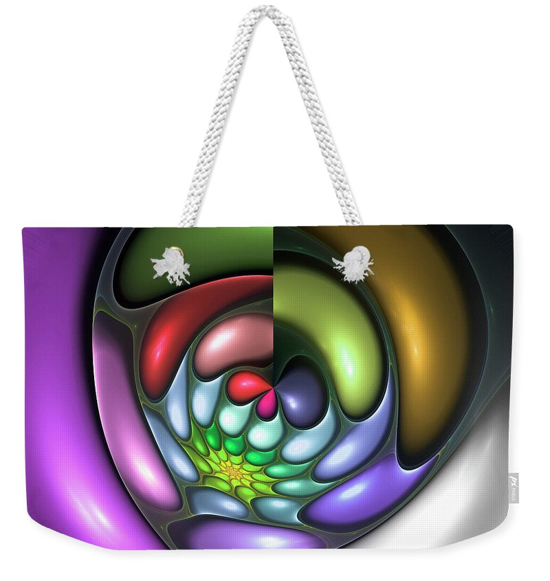 Colorful Abstract Art Design Bubble Flower Spiral Expressionism Color Purple Green Weekender Tote Bag featuring the digital art Colorful by Steve K