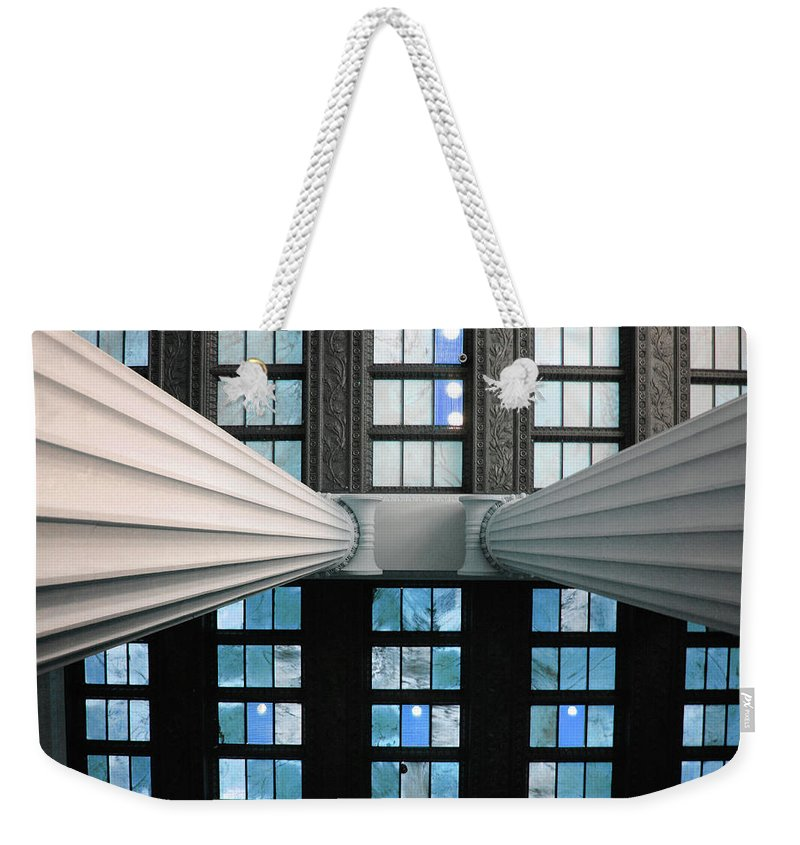 Lincoln Weekender Tote Bag featuring the photograph 2 Column Stain Blue by Jost Houk