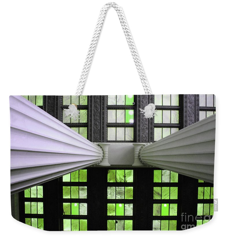 Lincoln Weekender Tote Bag featuring the photograph 2 Column Stain Green by Jost Houk