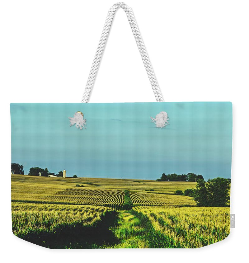 Iowa Weekender Tote Bag featuring the photograph Cornfields Of Buchanan County, Iowa by Loc