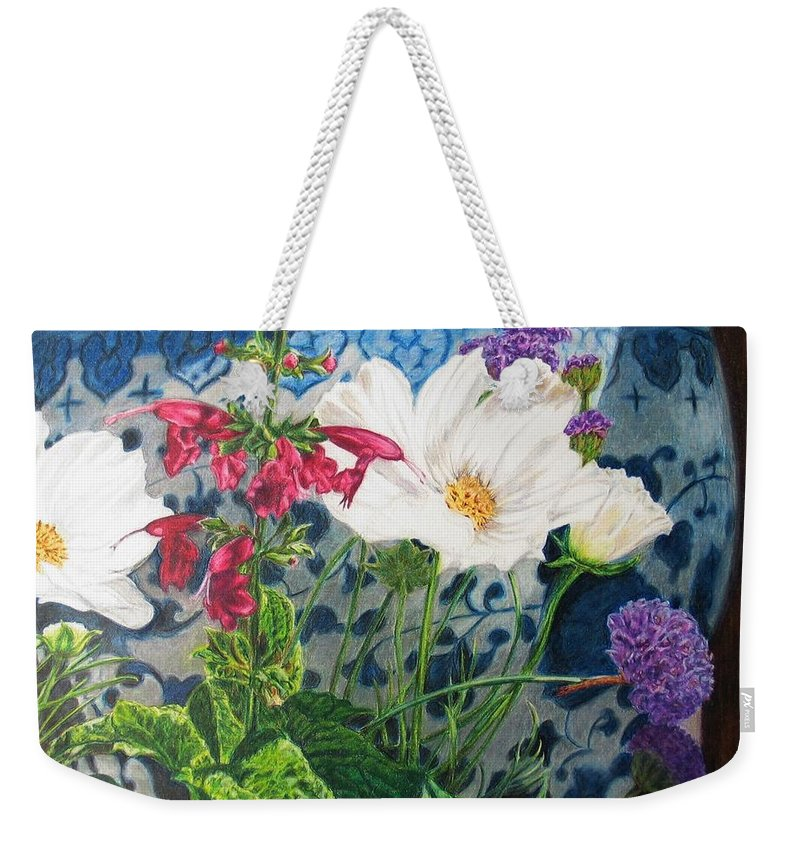 Flowers Weekender Tote Bag featuring the painting Cosmos by Karen Ilari