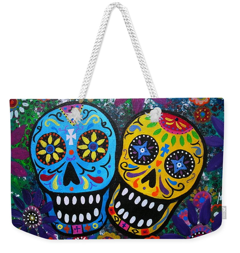 Day Of The Dead Weekender Tote Bag featuring the painting Couple Day Of The Dead by Pristine Cartera Turkus