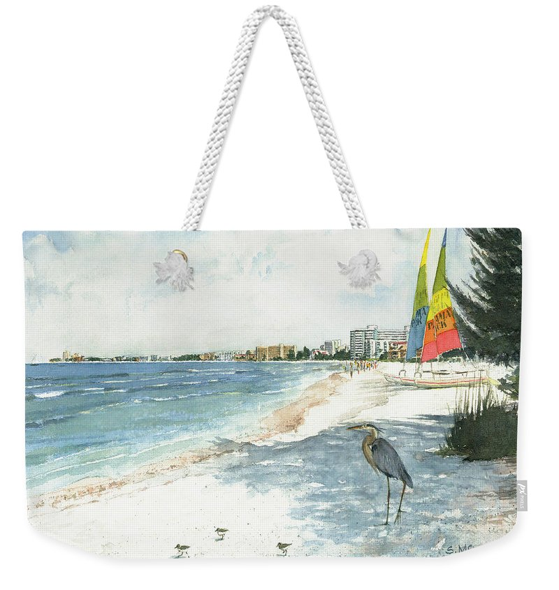 Siesta Key Weekender Tote Bag featuring the painting Blue Heron And Hobie Cats, Crescent Beach, Siesta Key by Shawn McLoughlin