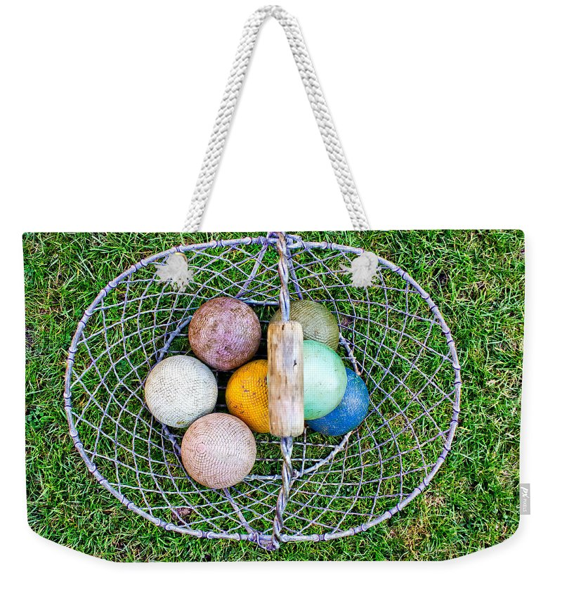 Ball Weekender Tote Bag featuring the photograph Croquet Balls by Tom Gowanlock