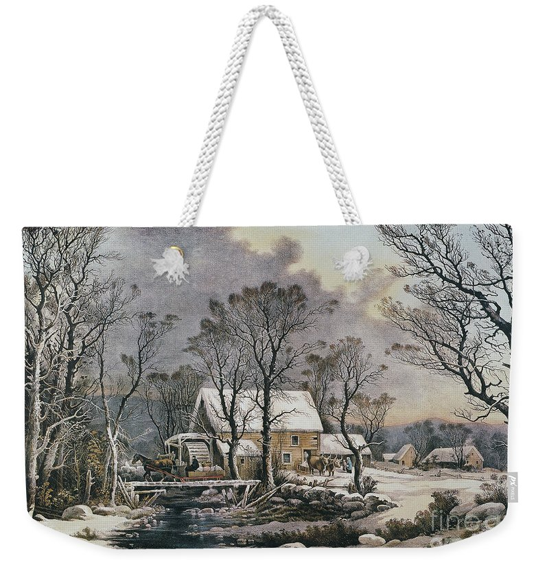 1864 Weekender Tote Bag featuring the photograph Currier & Ives: Winter Scene by Granger