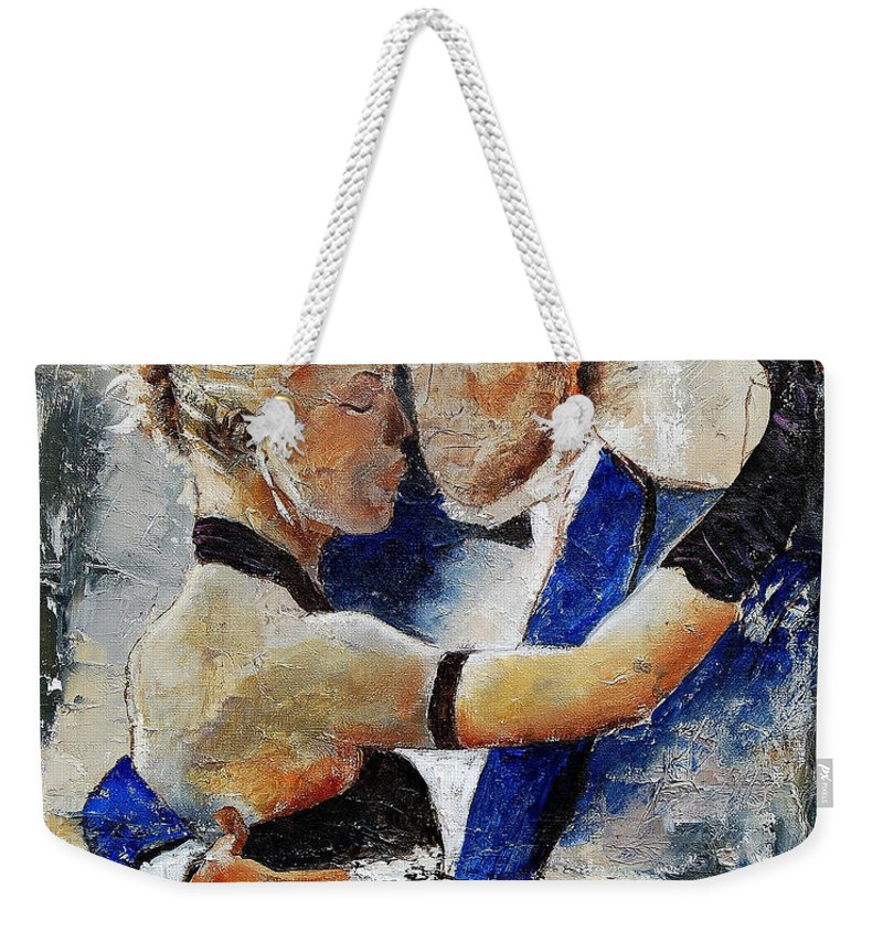 Dance Weekender Tote Bag featuring the painting Dancing Tango by Pol Ledent