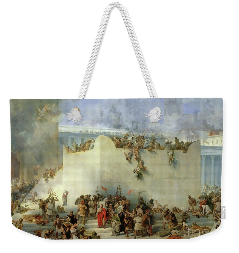 Fire Weekender Tote Bag featuring the painting Destruction Of The Temple Of Jerusalem by Francesco Hayez