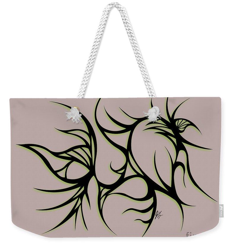Black Weekender Tote Bag featuring the digital art Divine Havoc by Jamie Lynn