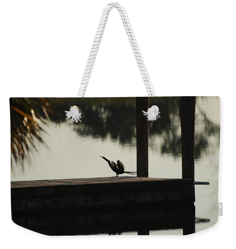 Reflections Weekender Tote Bag featuring the photograph Dock Bird by Rob Hans