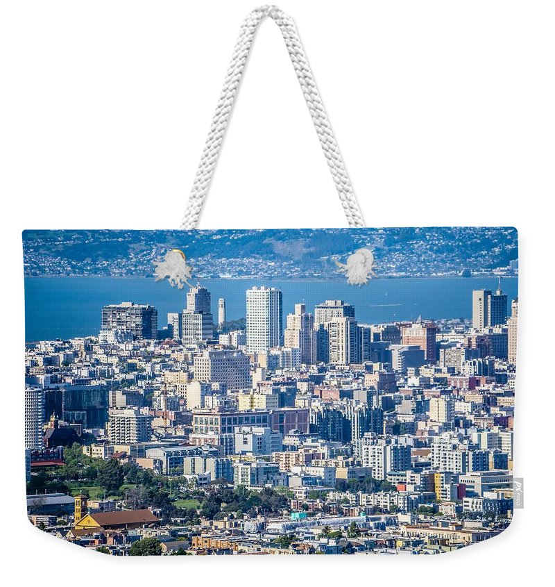 Downtown Weekender Tote Bag featuring the photograph Downtown San Francisco City Street Scenes And Surroundings by Alex Grichenko