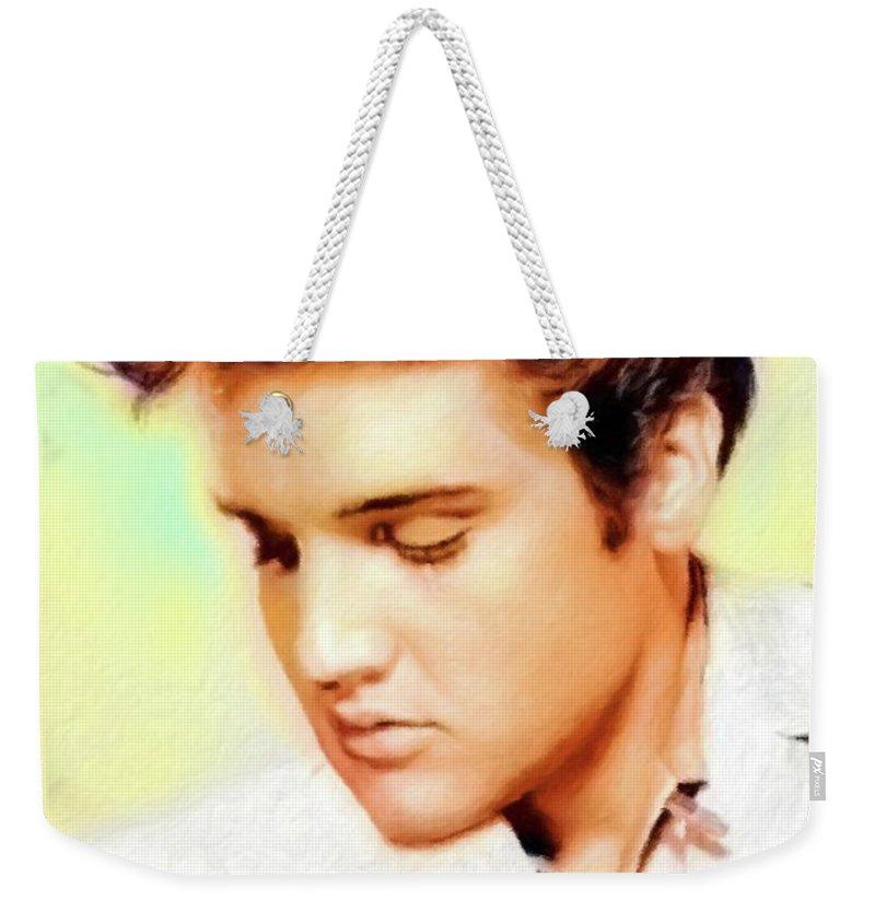 Rock Weekender Tote Bag featuring the painting Elvis Presley 2 by Mary Bassett