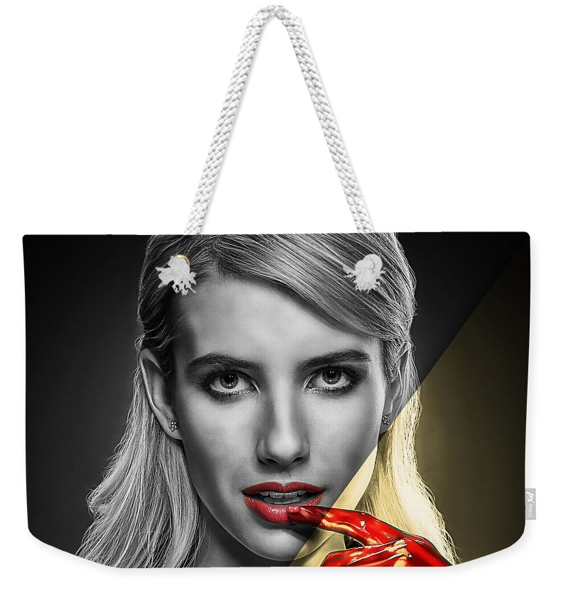 Emma Roberts Weekender Tote Bag featuring the mixed media Emma Roberts Collection by Marvin Blaine