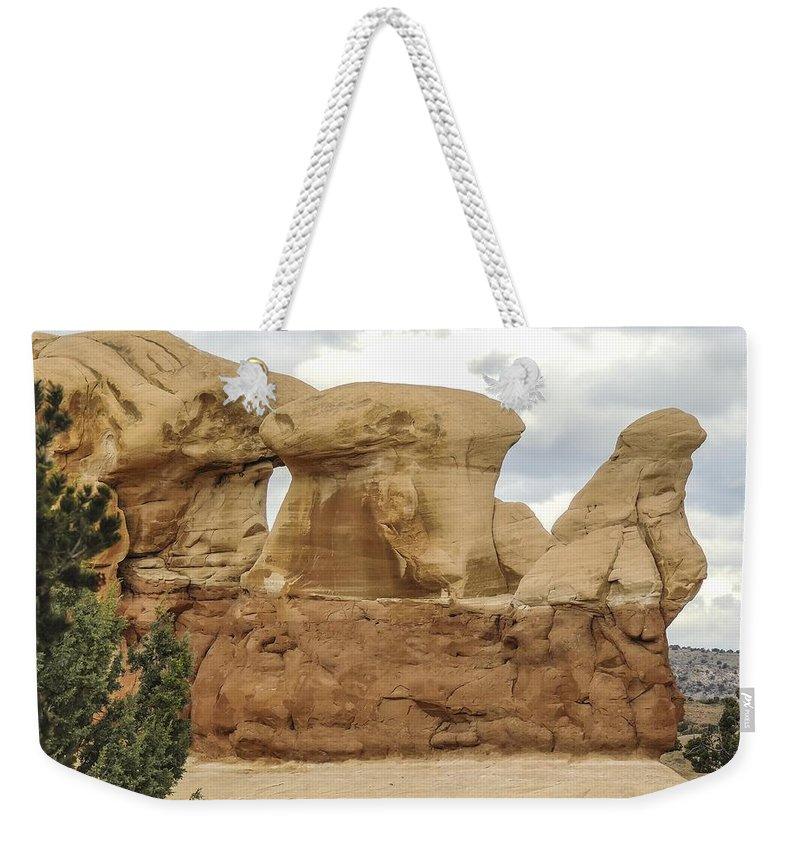 Entrada Weekender Tote Bag featuring the photograph Entrada Sandstone Hoodoos Devil's Garden by NaturesPix