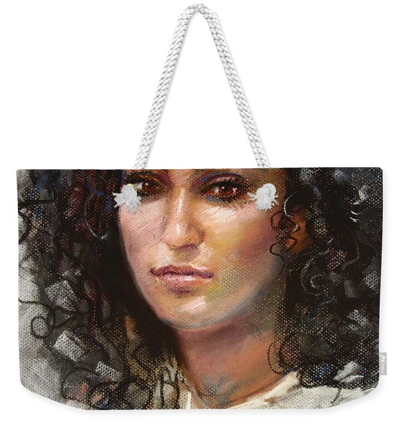 Girl Portrait Weekender Tote Bag featuring the pastel Erbora by Ylli Haruni