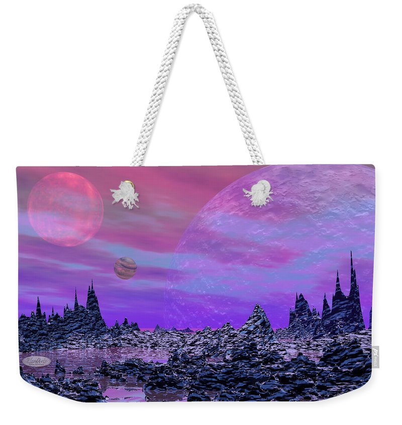 Alien Weekender Tote Bag featuring the digital art Fantasy Landscape by Elenarts - Elena Duvernay Digital Art
