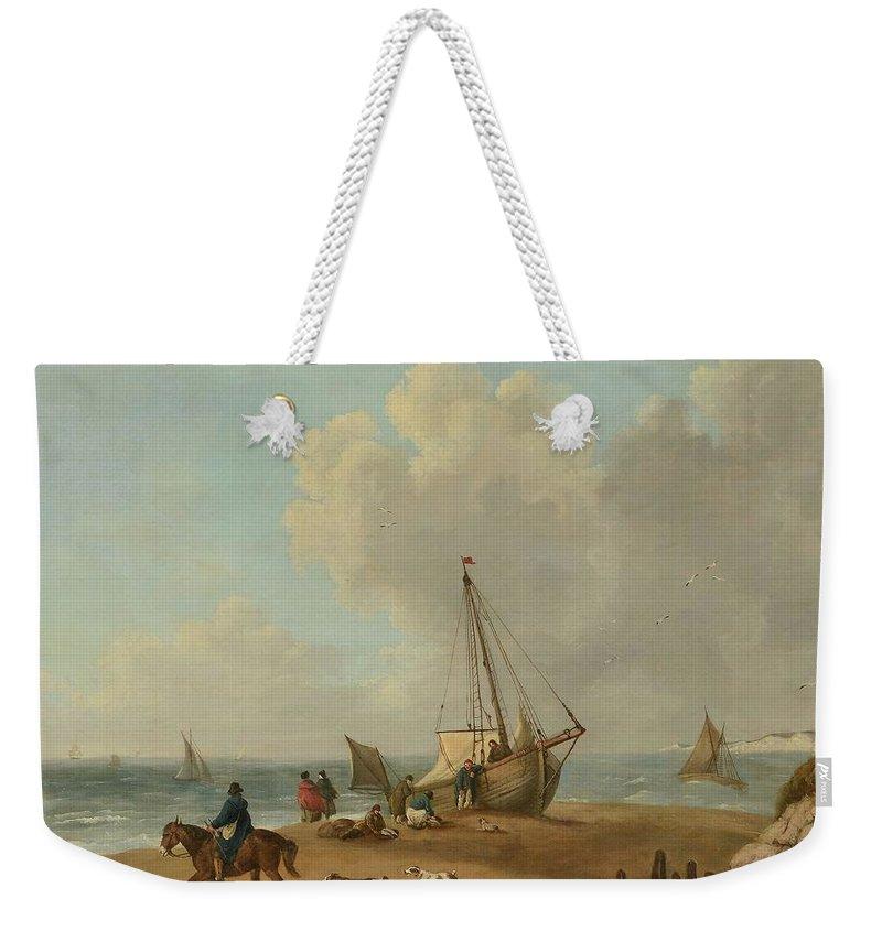 George Morland (1763-1804) Fisherfolk Unloading Their Catch On Freshwater Bay Weekender Tote Bag featuring the painting Fisherfolk Unloading Their Catch On Freshwater Bay by George Morland