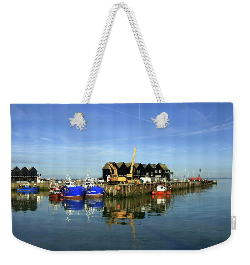Fishing Weekender Tote Bag featuring the photograph Fishing Boats At Whitstable Harbour 03 by Chris Laurens