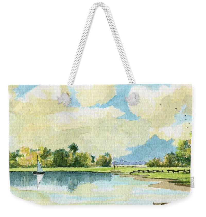 Lake Weekender Tote Bag featuring the painting Fishing Lake by Alban Dizdari